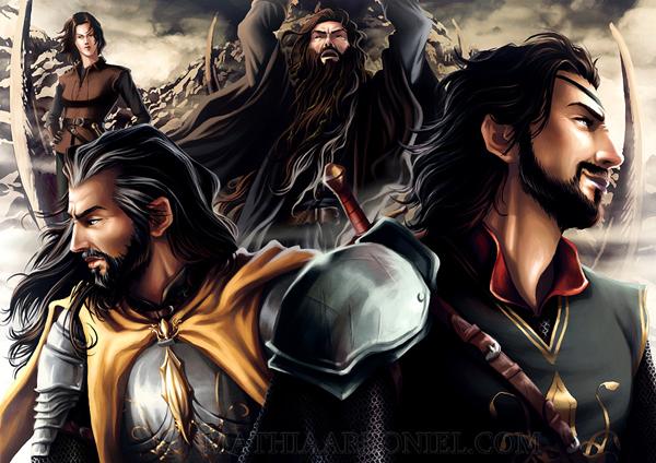 Da direita para a esquerda: Euron, Aeron, Victarion and Asha (Os Greyjoy).